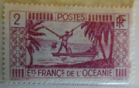French Oceania 1934-38 Stamp 2 MNH Stamp Rare Antique StampBook1-85