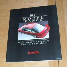 Toyota Brochure 1988 Supra Celica GT Four MR2 Corolla GTI-16 Carina Land Cruiser