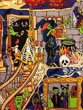 Haunted House Mansion w/ Grim Reaper Mummy Witch Ghosts Halloween Fabric BTHY