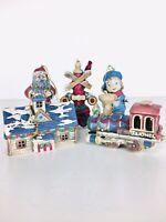 Vintage Lionel Ceramic Ornaments Santa Boy Locomotive Rail Road Crossing Station