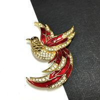 Vintage GIORGIO Brooch Enamel Crystal Rhinestone Sphinx Bird Gold Tone ii144e