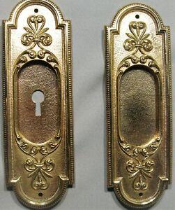 ANTIQUE PAIR SOLID CAST BRASS/BRONZE POCKET DOOR PULLS/PLATES VICTORIAN DESIGN