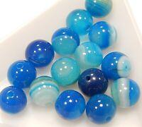 Natürliche Streifen Achat Perlen Kugel Sapphire Blau 8mm Edelsteine G342