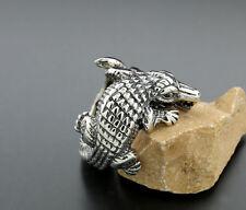 Krokodil-Ring Tierschmuck Sterlingsilber italienische Silbermanufaktur (30816)