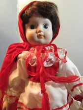 """14"""" Collectible PORCELAIN LITTLE RED RIDING HOOD DOLL W/BASKET"""
