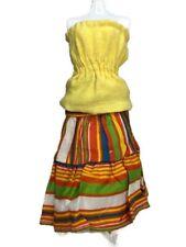 Vtg Barbie Yellow Cotton Strapless Top & Orange Green White Ruffled A Line Skirt