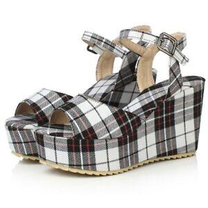 Women Wedge Heels Ankle Strap Platform Houndstooth Sandals Slingback Retro Shoes