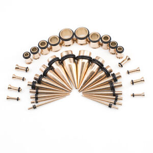 Ear Stretching Rose Gold Plated Tapers & Tunnel Plugs 14G 00G Kit 36 Pieces