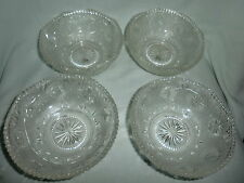 LOT OF 4 CLEAR PRESSED GLASS BERRY/FRUIT BOWLS