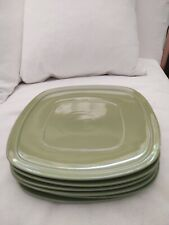 Set 6 Square Dinner Plates Green Pea Pod Canopy