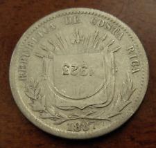 Costa Rica 1923 50 Centimos Counterstamped on 1887 GW 25 Centavos VF