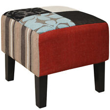 Shabby Chic Square Pouffe Stool / Wood Legs - Blue / Green / Red OCH4009