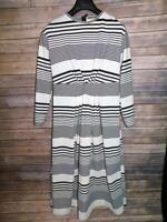 Vintage 60s S White Black Stripe Midi Dress Gathered Waist Long Sleeve MCM Mod