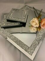 Crushed Crystal Diamond Mirrored Glass Choice Of Placemats Or Matching Coasters