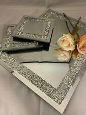Crushed Crystal Diamante Mirrored Glass Choice Of Placemats Or Matching Coasters