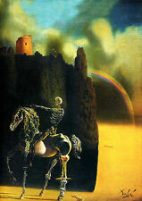 """Salvador Dali """"death of the rider"""" giclee 8.3X11.7 canvas print art poster"""