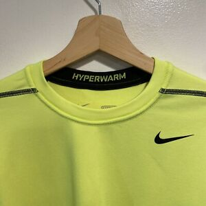 Nike Pro Combat Fitted Dri Fit Hyper Warm Long Sleeve Neon Yellow Shirt Men Med