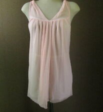 Betsey Johnson Sheer Pink Double Nylon Teddy Raw Edge Nightgown Top S L306
