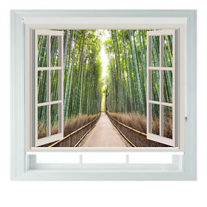 Window Japan Bamboo Forest Printed Photo Blackout Roller Blinds Made To Measure