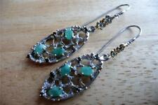Large Marquise Emerald & Sapphire 925 Sterling Silver Drop Dangle Hook Earrings