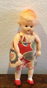 Gorgeous Vintage Small Celluloid Girl Doll, Made In Italy - Original Clothing