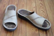 Naot 39 8-8.5 Tan Brown Nubuck Leather Open Toe Slides Mules