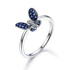 Fashion Butterfly Women Wedding Rings 925 Silver Jewelry Blue SapphireSize8