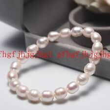 7-8mm Natural White Freshwater Cultured Rice Pearl Stretch Bracelet Bangle
