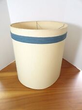 LARGE VINTAGE CREAM COLORED CLOTH LAMP SHADE WITH BLUE STRIPE