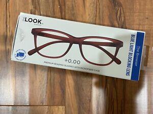 The Look Eyewear - +0.00 Reading Glasses -Blue Light Blocking Lens Red frame New