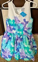 THE CHILDREN'S PLACE PURPLE AND BLUE FLORAL SLEEVELESS DRESS SIZE 5 Polyester