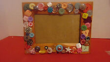 "Picture Frame Wood Hand Done With 53 Button By Seller 4""X6"" Photo-Stand 2 Ways"
