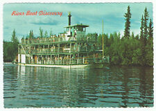 Vintage Alaska Postcard Deckle Edge River Boat Discovery Paddle Tour Advertising