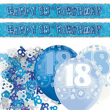 Blue Silver Glitz 18th Birthday Banner Party Decoration Pack Kit Set