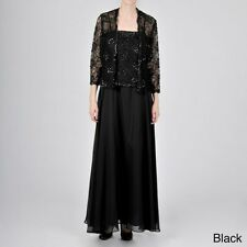NEW Ignite Evening Black 16 Sequin Embellished Lace Jacket Dress Ball Gown $249