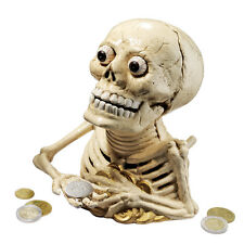 Bug Eyed Bony Skeleton Spooky Macabre Skull Foundry Iron Mechanical Bank