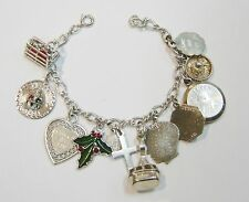 STERLING SILVER CHAIN LINK CHARM BRACELET 11 CHARMS 7 1/2 INCHES N545-U