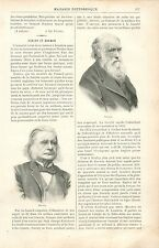 Portrait du Professeur Huxley & Charles Darwin Angleterre GRAVURE OLD PRINT 1895