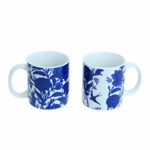 Set of 2 Porcelain Small 90ml Blue White Willow Coffee Espresso Shot Cups Mugs