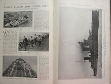 1914 WW1 WWI PRINT ~ WARSHIPS H.M.S QUEEN MARY SAILORS ON DECK BATTLE-CRUISER