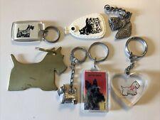"Lot of 7 Scottish Terrier Key Rings Vintage Scottie Dog Scotty 74 75 82 ""As Is"""