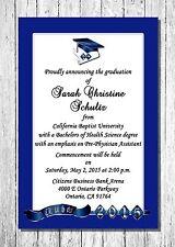 2015 Personalized Graduation Announcements - Blue Silver Quantity 10