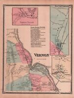 1869 Original Antique Hand-Colored F W Beers Map From Atlas - VERNON, Vermont