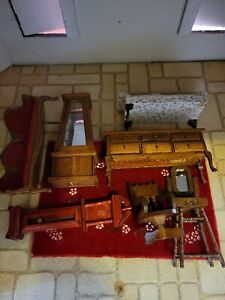 Vintage Dollhouse Wooden Furniture Lot