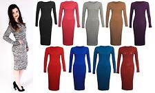 New Ladies Dress Womens Bodycon Maxi Long Round Neck Midi Plain Smart Stretch