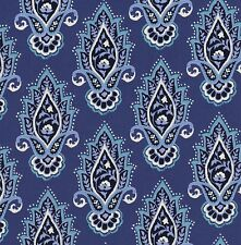 Michael Miller Indian Summer Lotus Flower on Blue Cotton Fabric - FQ