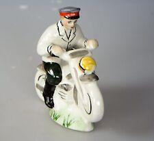 Russische Porzellanfigur Porzellan Soldat mit  Motorrad  UdSSR Polizei