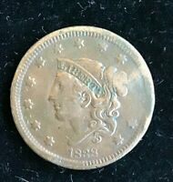 1838 USA Coronet One Cent Coin. 1 Cent Coin. VF PREVIOUSLY CLEANED