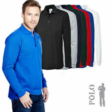 Polycotton Long Sleeve Polo Casual Shirts for Men