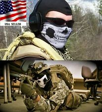 Black Seamless Balaclava Scarf White Skeleton Ghost Skull Scarf Face Masks